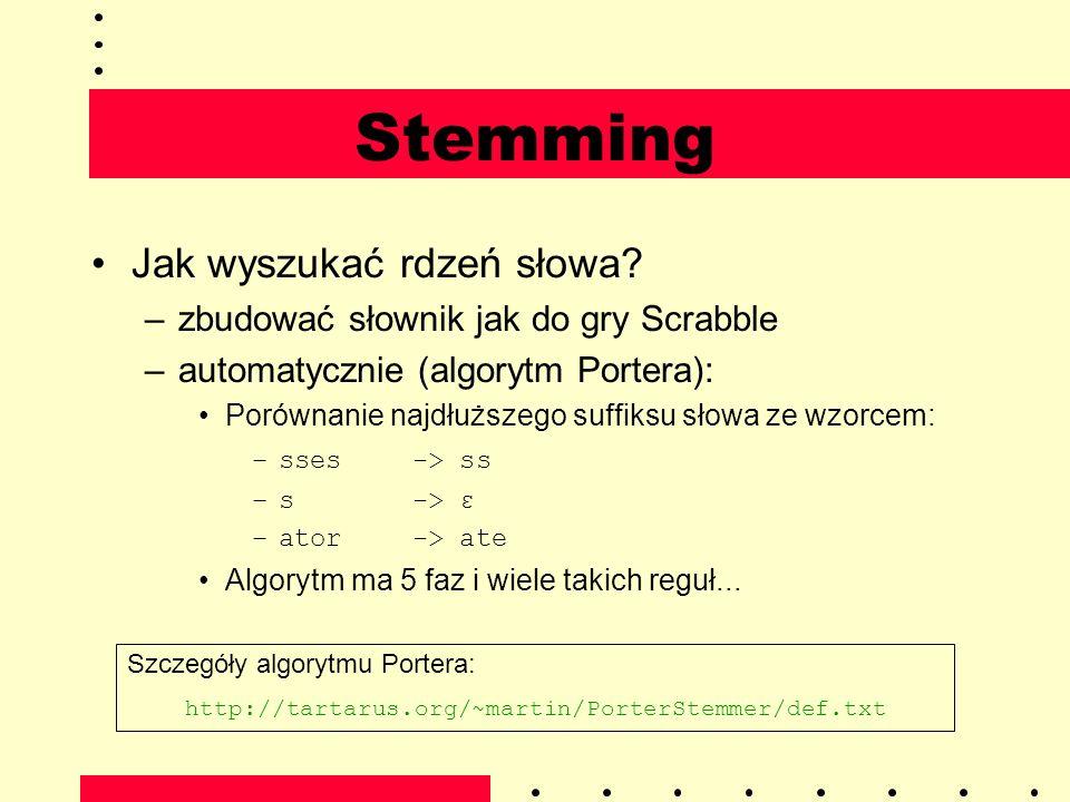 Stemming Jak wyszukać rdzeń słowa? –zbudować słownik jak do gry Scrabble –automatycznie (algorytm Portera): Porównanie najdłuższego suffiksu słowa ze