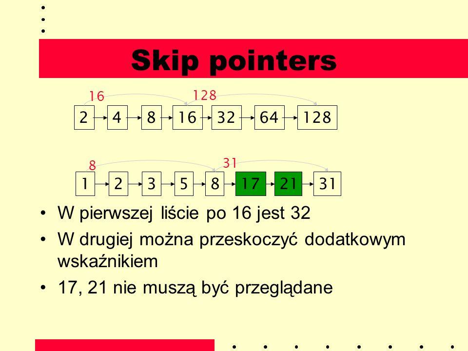 Skip pointers W pierwszej liście po 16 jest 32 W drugiej można przeskoczyć dodatkowym wskaźnikiem 17, 21 nie muszą być przeglądane 1282481632643112358
