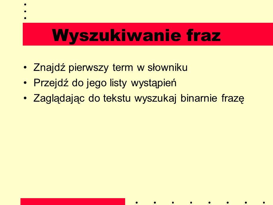 Wyszukiwanie fraz Znajdź pierwszy term w słowniku Przejdź do jego listy wystąpień Zaglądając do tekstu wyszukaj binarnie frazę