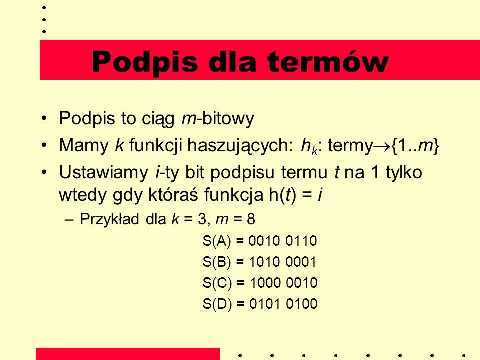 Podpis dla termów Podpis to ciąg m-bitowy Mamy k funkcji haszujących: h k : termy {1..m} Ustawiamy i-ty bit podpisu termu t na 1 tylko wtedy gdy która