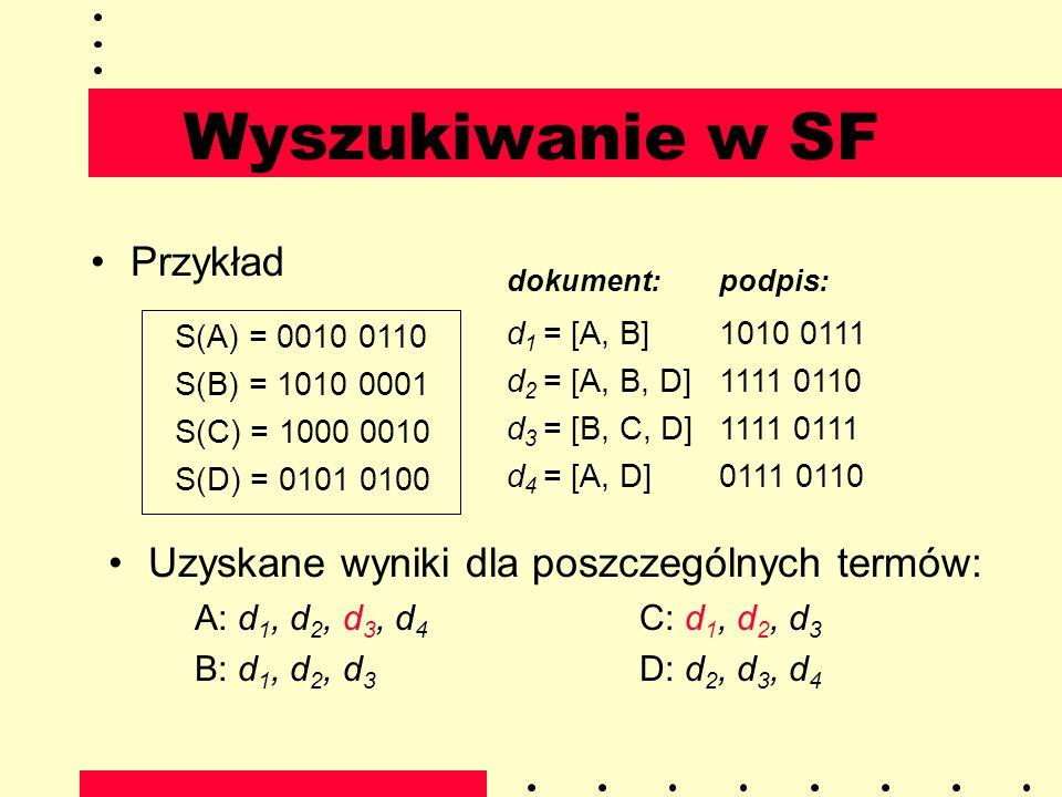 Wyszukiwanie w SF Przykład S(A) = 0010 0110 S(B) = 1010 0001 S(C) = 1000 0010 S(D) = 0101 0100 dokument:podpis: d 1 = [A, B]1010 0111 d 2 = [A, B, D]1
