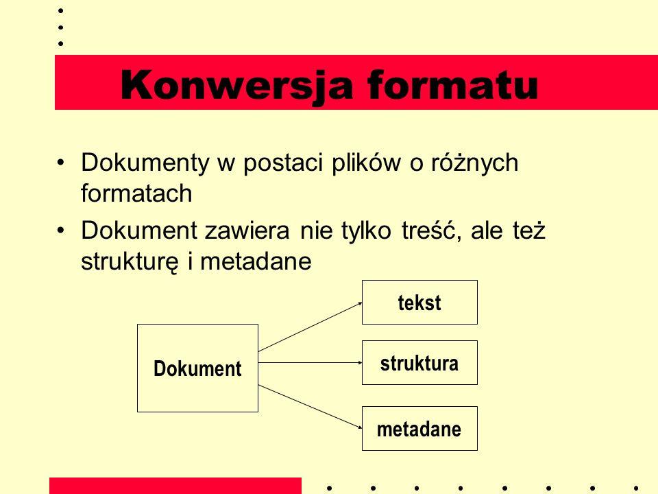 Konwersja formatu Dokumenty w postaci plików o różnych formatach Dokument zawiera nie tylko treść, ale też strukturę i metadane Dokument tekst struktu