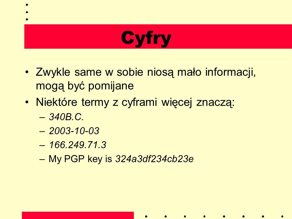 Cyfry Zwykle same w sobie niosą mało informacji, mogą być pomijane Niektóre termy z cyframi więcej znaczą: –340B.C. –2003-10-03 –166.249.71.3 –My PGP