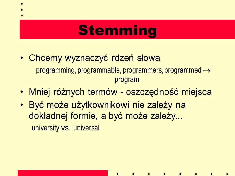 Stemming Chcemy wyznaczyć rdzeń słowa programming, programmable, programmers, programmed program Mniej różnych termów - oszczędność miejsca Być może u