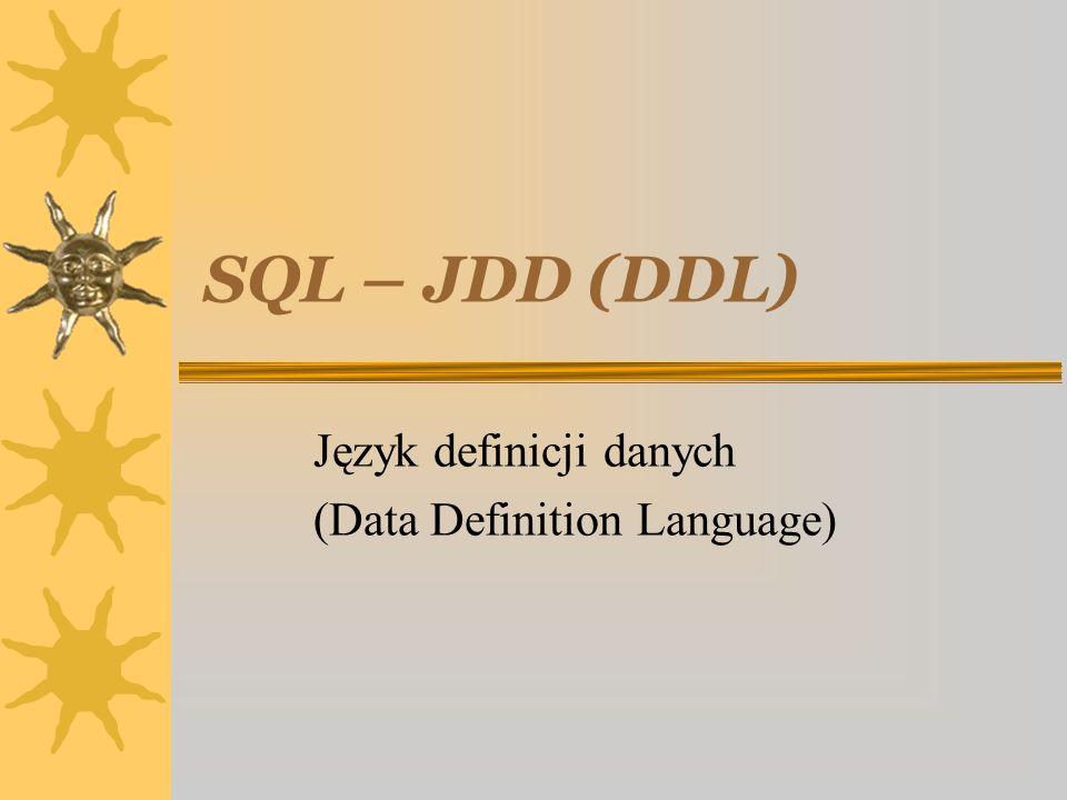 18 marzec 2004SQL - język definicji danych22 Przykład cd.2 CREATE TABLE Samochód (nrRej VARCHAR(10) PRIMARY KEY, marka Tnazwa, właściciel CHAR(11) REFERENCES Osoba(pesel) ON DELETE SET NULL ON UPDATE CASCADE);