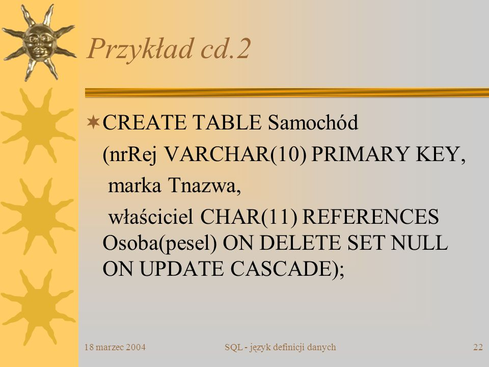 18 marzec 2004SQL - język definicji danych22 Przykład cd.2 CREATE TABLE Samochód (nrRej VARCHAR(10) PRIMARY KEY, marka Tnazwa, właściciel CHAR(11) REF