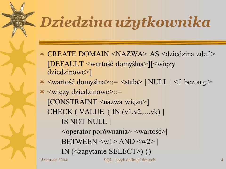 18 marzec 2004SQL - język definicji danych15 Perspektywa - modyfikacje Perspektywa nie może być modyfikowalna, gdy: zawiera operator DISTINCT; zwraca kolumnę wyliczaną; jest definiowana przez zapytanie grupujące; jest definiowana przez zapytanie zawierające UNION, EXCEPT lub INTERSECT; w warunku WHERE zapytania definiującego występuje odwołanie do tabeli występującej w klauzuli FROM.