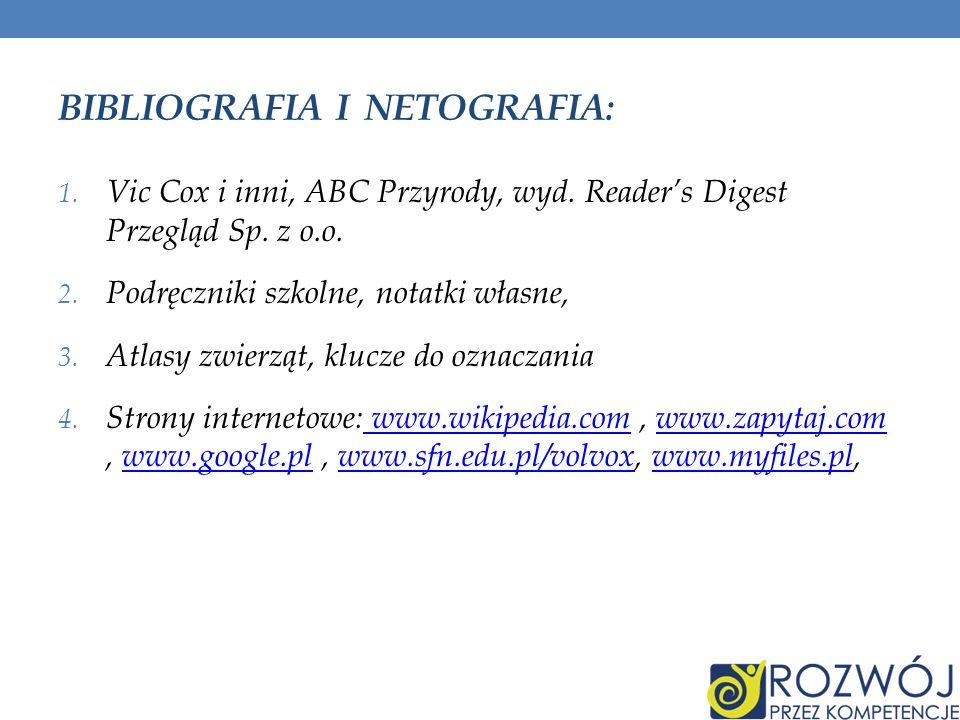 BIBLIOGRAFIA I NETOGRAFIA: 1. Vic Cox i inni, ABC Przyrody, wyd. Readers Digest Przegląd Sp. z o.o. 2. Podręczniki szkolne, notatki własne, 3. Atlasy