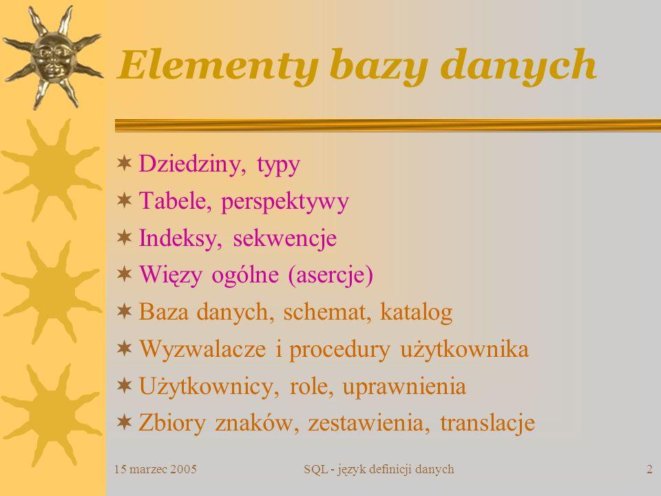 15 marzec 2005SQL - język definicji danych2 Elementy bazy danych Dziedziny, typy Tabele, perspektywy Indeksy, sekwencje Więzy ogólne (asercje) Baza da