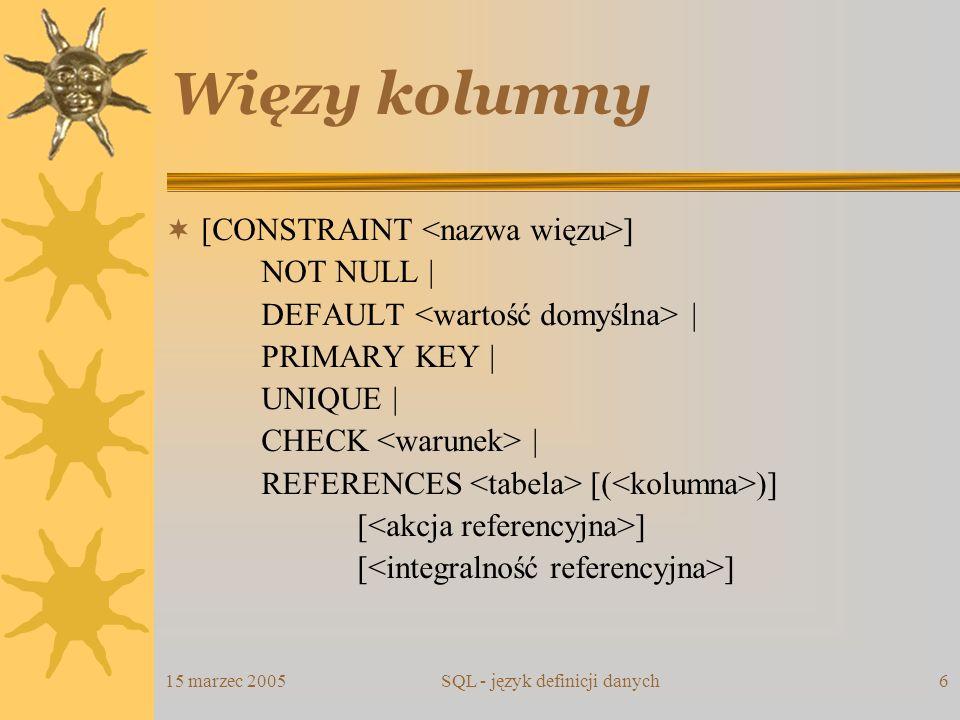 15 marzec 2005SQL - język definicji danych6 Więzy kolumny [CONSTRAINT ] NOT NULL | DEFAULT | PRIMARY KEY | UNIQUE | CHECK | REFERENCES [( )] [ ]