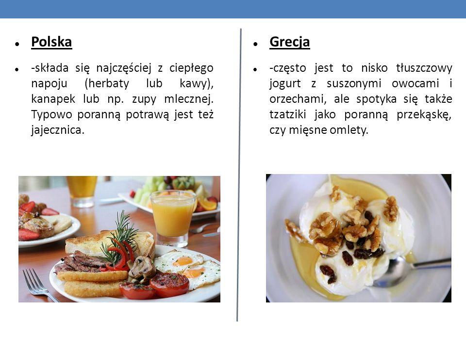 Polska -składa się najczęściej z ciepłego napoju (herbaty lub kawy), kanapek lub np. zupy mlecznej. Typowo poranną potrawą jest też jajecznica. Grecja