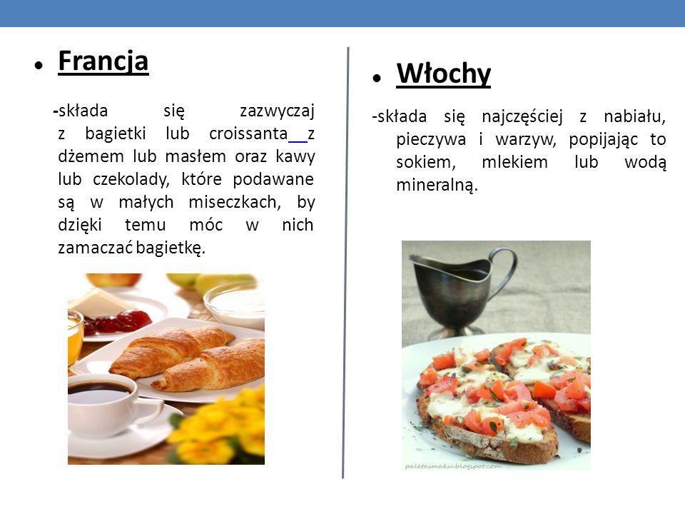Francja -składa się zazwyczaj z bagietki lub croissanta z dżemem lub masłem oraz kawy lub czekolady, które podawane są w małych miseczkach, by dzięki