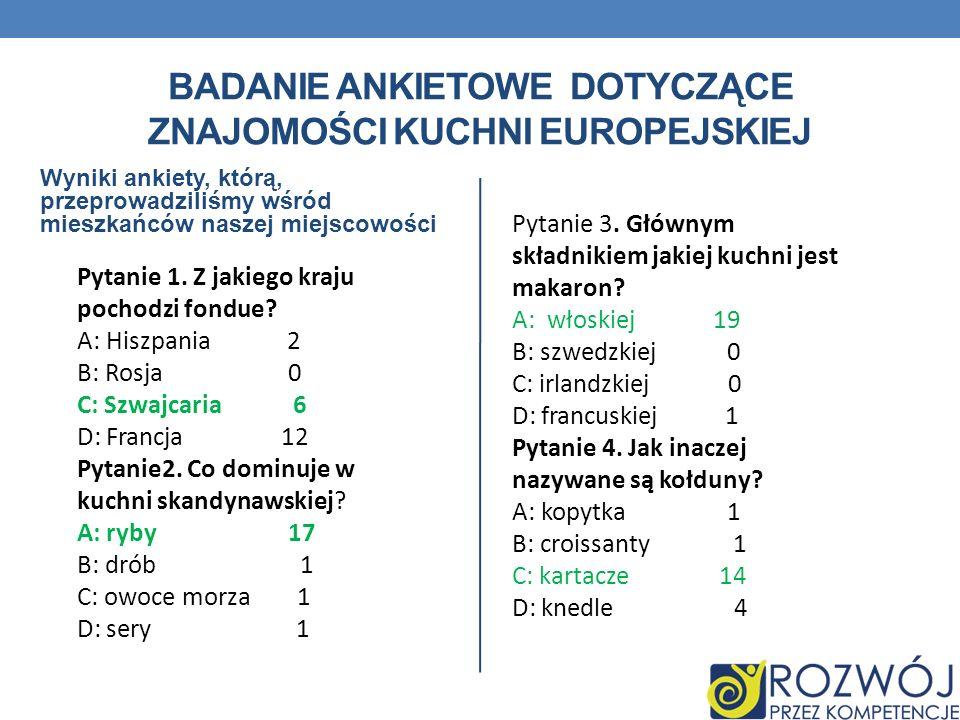 BADANIE ANKIETOWE DOTYCZĄCE ZNAJOMOŚCI KUCHNI EUROPEJSKIEJ Wyniki ankiety, którą, przeprowadziliśmy wśród mieszkańców naszej miejscowości Pytanie 1. Z