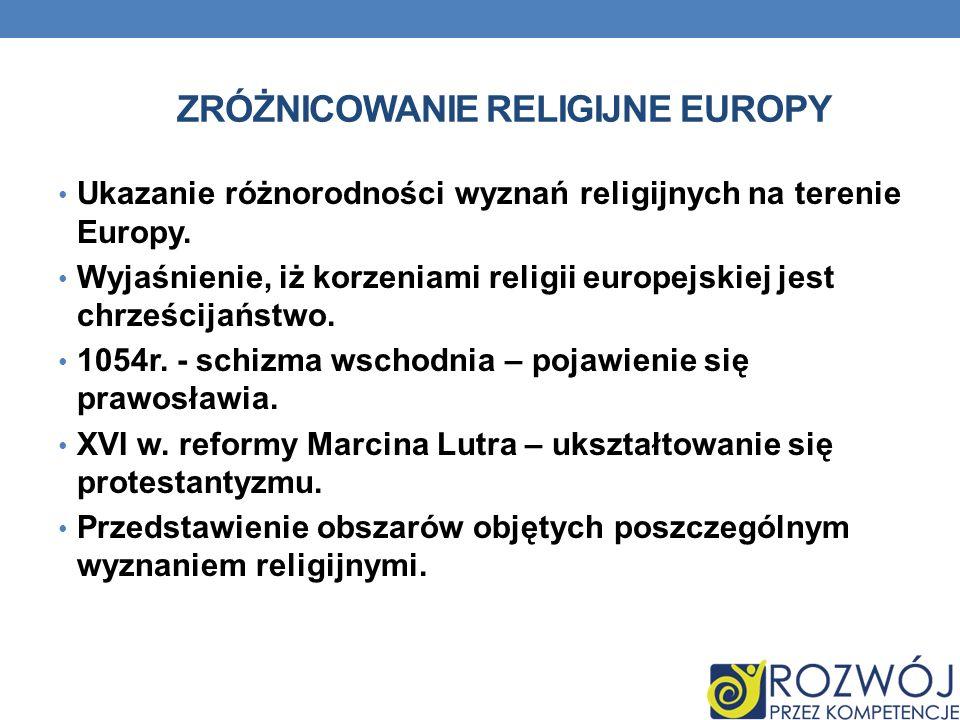 ZRÓŻNICOWANIE RELIGIJNE EUROPY Ukazanie różnorodności wyznań religijnych na terenie Europy. Wyjaśnienie, iż korzeniami religii europejskiej jest chrze