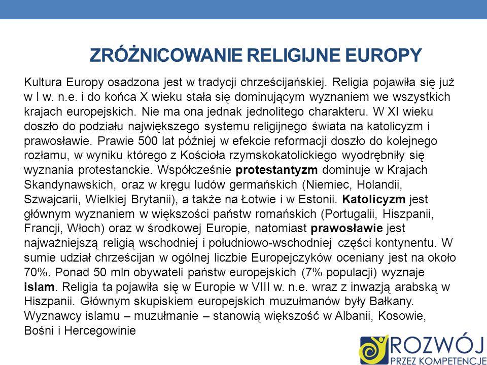 ZRÓŻNICOWANIE RELIGIJNE EUROPY Kultura Europy osadzona jest w tradycji chrześcijańskiej. Religia pojawiła się już w I w. n.e. i do końca X wieku stała