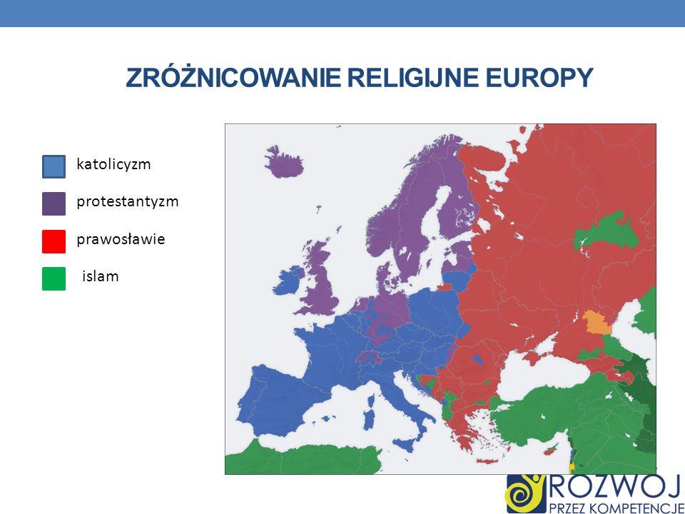 ZRÓŻNICOWANIE RELIGIJNE EUROPY katolicyzm protestantyzm prawosławie islam