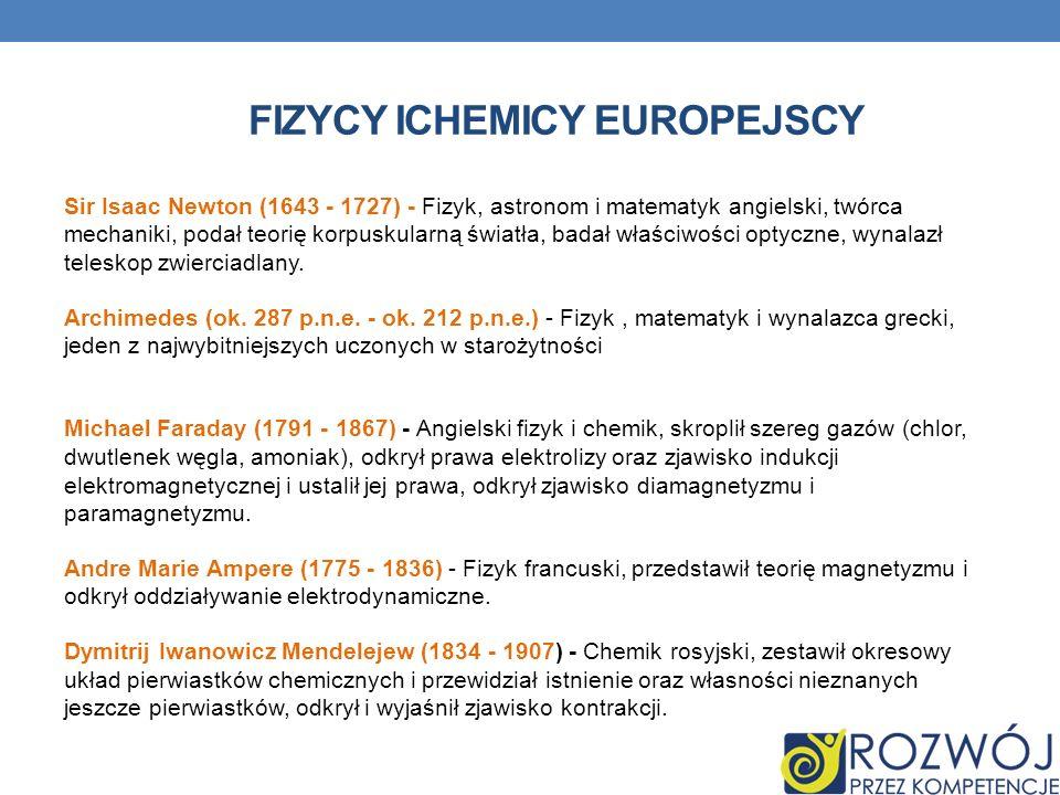 FIZYCY ICHEMICY EUROPEJSCY Sir Isaac Newton (1643 - 1727) - Fizyk, astronom i matematyk angielski, twórca mechaniki, podał teorię korpuskularną światł
