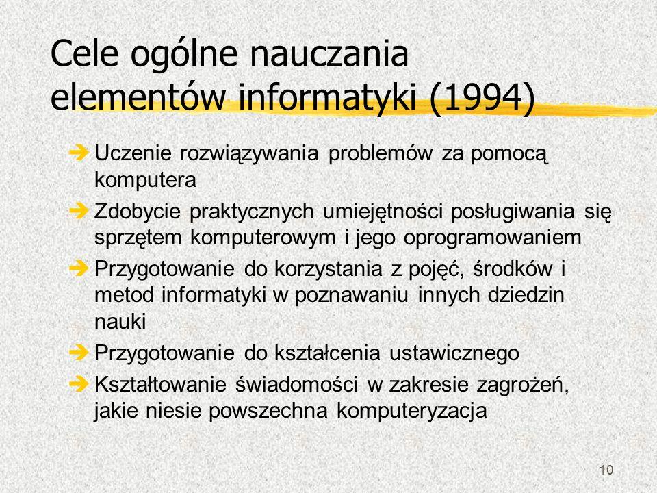 10 Cele ogólne nauczania elementów informatyki (1994) èUczenie rozwiązywania problemów za pomocą komputera èZdobycie praktycznych umiejętności posługi