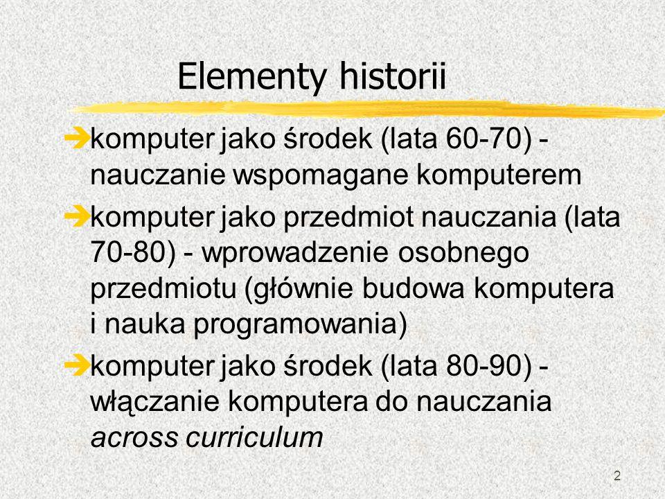 2 Elementy historii èkomputer jako środek (lata 60-70) - nauczanie wspomagane komputerem èkomputer jako przedmiot nauczania (lata 70-80) - wprowadzeni