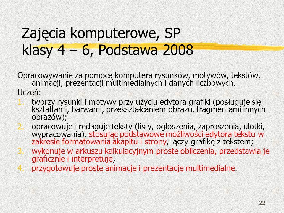 22 Zajęcia komputerowe, SP klasy 4 – 6, Podstawa 2008 Opracowywanie za pomocą komputera rysunków, motywów, tekstów, animacji, prezentacji multimedialn