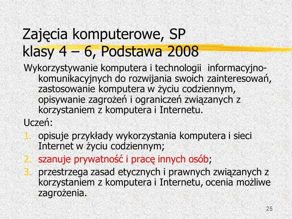 25 Zajęcia komputerowe, SP klasy 4 – 6, Podstawa 2008 Wykorzystywanie komputera i technologii informacyjno- komunikacyjnych do rozwijania swoich zaint