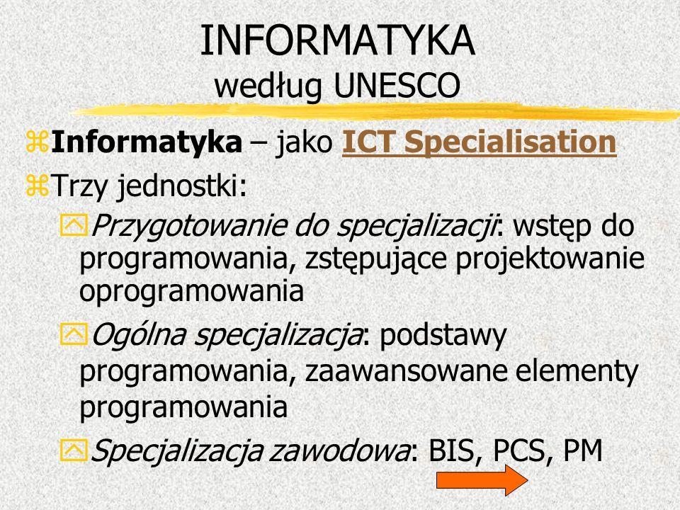 INFORMATYKA według UNESCO zInformatyka – jako ICT SpecialisationICT Specialisation zTrzy jednostki: yPrzygotowanie do specjalizacji: wstęp do programo