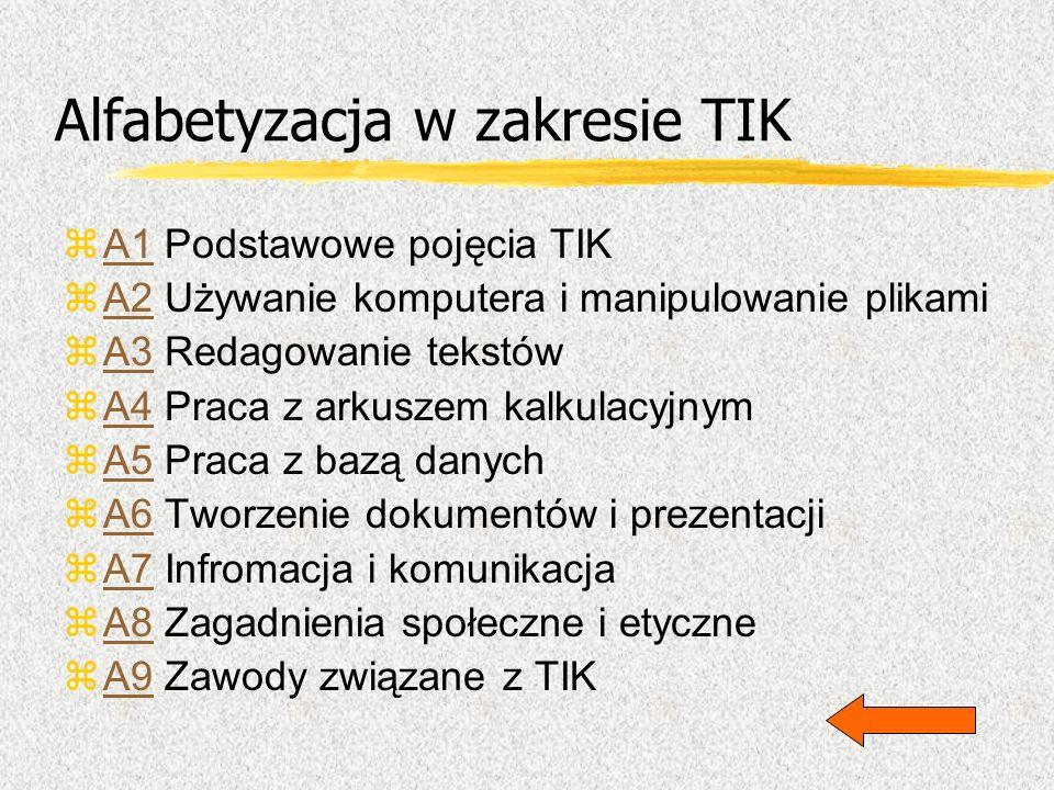 Alfabetyzacja w zakresie TIK zA1 Podstawowe pojęcia TIKA1 zA2 Używanie komputera i manipulowanie plikamiA2 zA3 Redagowanie tekstówA3 zA4 Praca z arkus