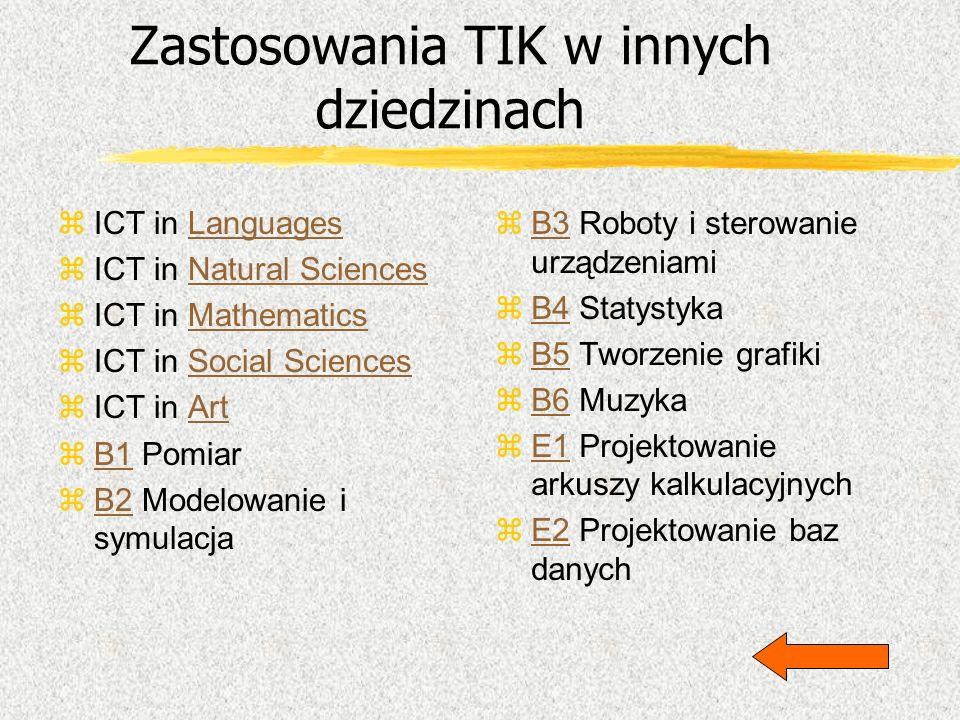 Zastosowania TIK w innych dziedzinach zICT in LanguagesLanguages zICT in Natural SciencesNatural Sciences zICT in MathematicsMathematics zICT in Socia