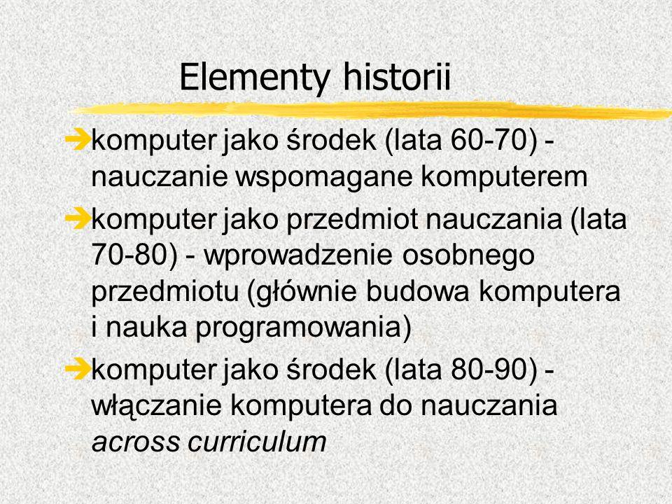 Elementy historii èkomputer jako środek (lata 60-70) - nauczanie wspomagane komputerem èkomputer jako przedmiot nauczania (lata 70-80) - wprowadzenie