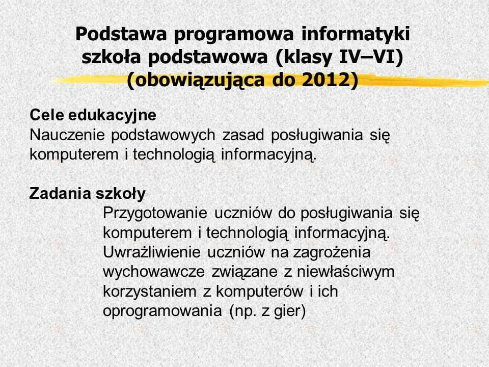 Podstawa programowa informatyki szkoła podstawowa (klasy IV–VI) (obowiązująca do 2012) Cele edukacyjne Nauczenie podstawowych zasad posługiwania się k