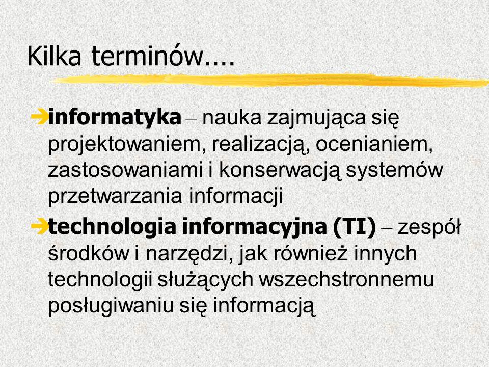 Kilka terminów.... informatyka – nauka zajmująca się projektowaniem, realizacją, ocenianiem, zastosowaniami i konserwacją systemów przetwarzania infor
