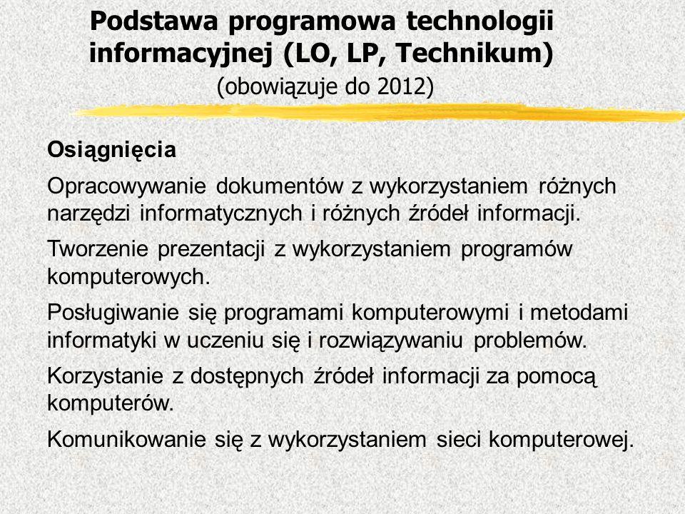 Osiągnięcia Opracowywanie dokumentów z wykorzystaniem różnych narzędzi informatycznych i różnych źródeł informacji. Tworzenie prezentacji z wykorzysta