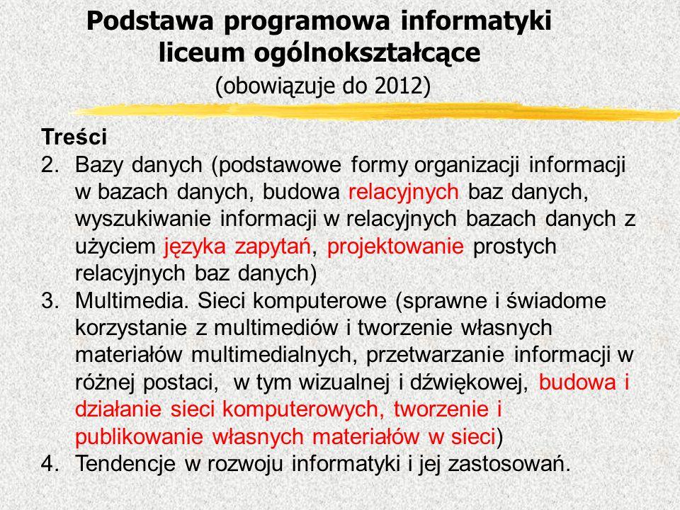 Treści 2.Bazy danych (podstawowe formy organizacji informacji w bazach danych, budowa relacyjnych baz danych, wyszukiwanie informacji w relacyjnych ba