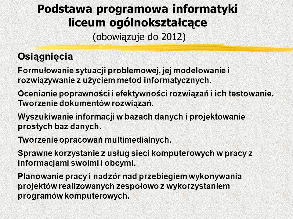 Osiągnięcia Formułowanie sytuacji problemowej, jej modelowanie i rozwiązywanie z użyciem metod informatycznych. Ocenianie poprawności i efektywności r