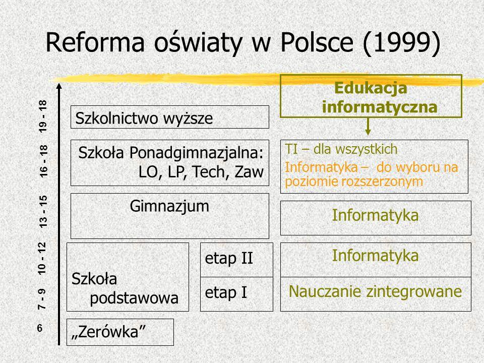 Reforma oświaty w Polsce (1999) etap I Zerówka 7 - 9 6 10 - 12 etap II 13 - 15 16 - 18 Szkoła podstawowa 19 - 18 Szkoła Ponadgimnazjalna: LO, LP, Tech