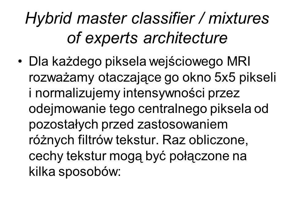 Hybrid master classifier / mixtures of experts architecture Dla każdego piksela wejściowego MRI rozważamy otaczające go okno 5x5 pikseli i normalizujemy intensywności przez odejmowanie tego centralnego piksela od pozostałych przed zastosowaniem różnych filtrów tekstur.