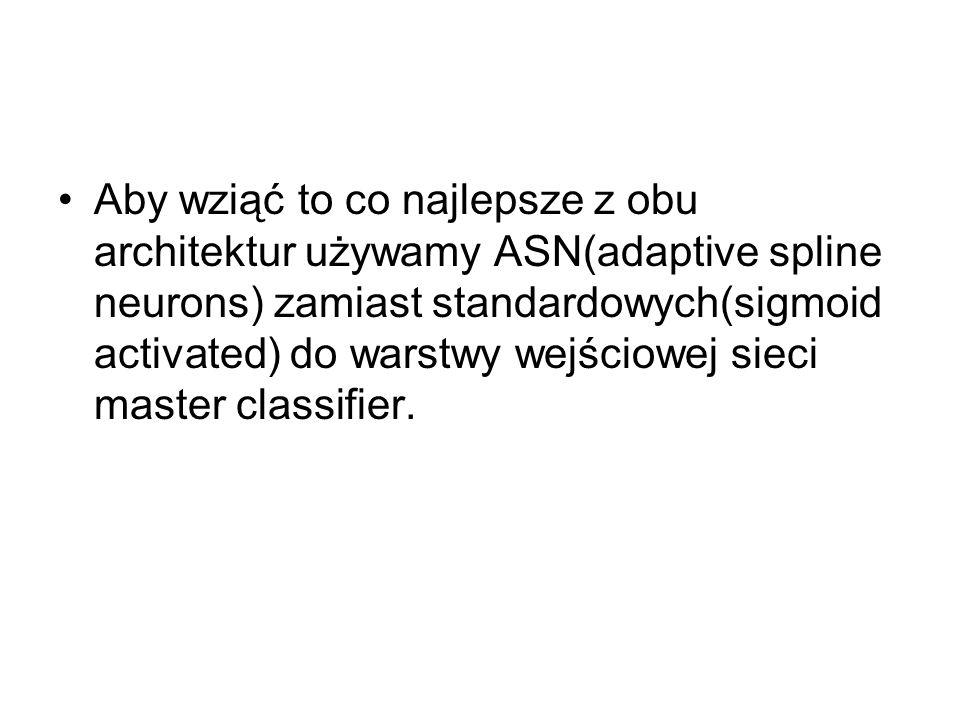 Aby wziąć to co najlepsze z obu architektur używamy ASN(adaptive spline neurons) zamiast standardowych(sigmoid activated) do warstwy wejściowej sieci master classifier.