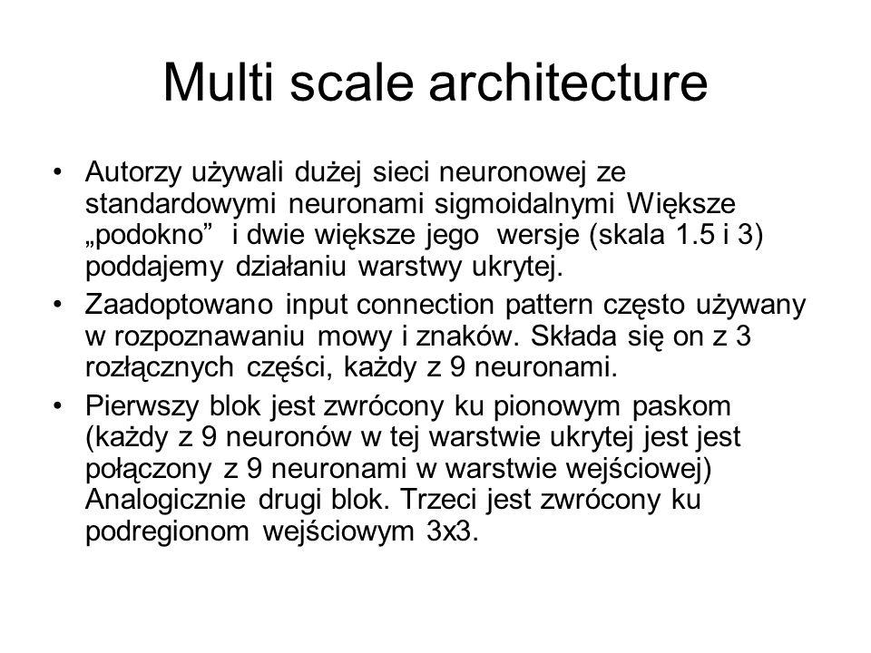 Multi scale architecture Autorzy używali dużej sieci neuronowej ze standardowymi neuronami sigmoidalnymi Większe podokno i dwie większe jego wersje (skala 1.5 i 3) poddajemy działaniu warstwy ukrytej.
