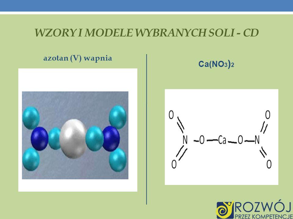 WZORY I MODELE WYBRANYCH SOLI - CD azotan (V) wapnia Ca(NO 3 ) 2