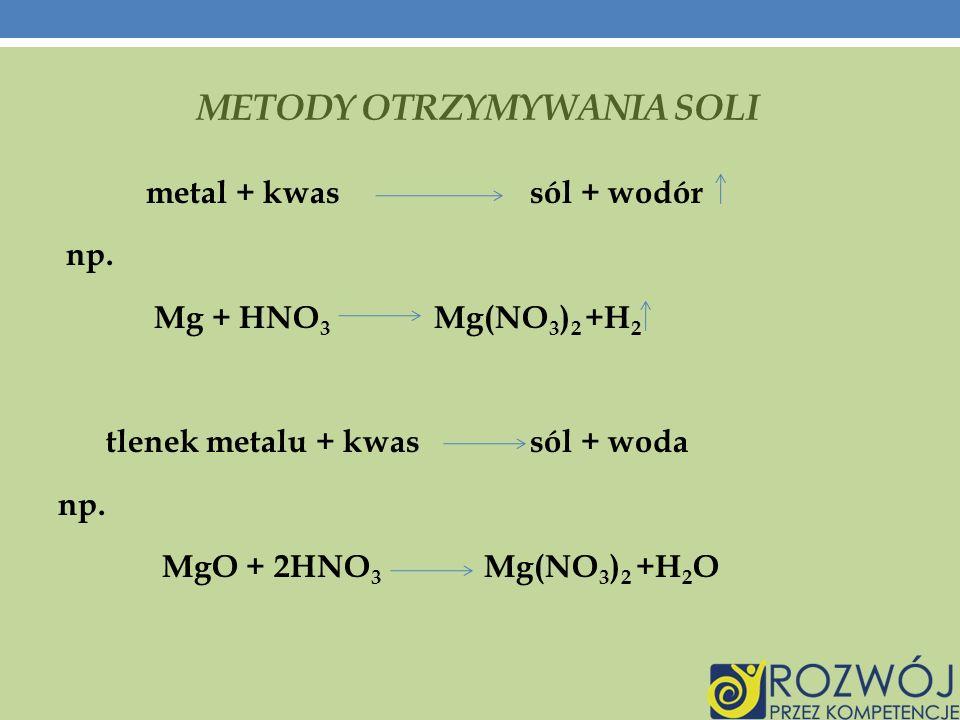 METODY OTRZYMYWANIA SOLI metal + kwas sól + wodór np.