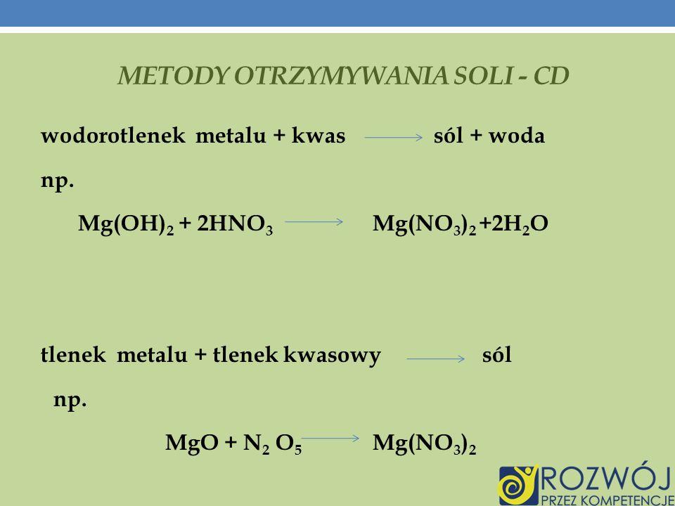 METODY OTRZYMYWANIA SOLI - CD wodorotlenek metalu + kwas sól + woda np.