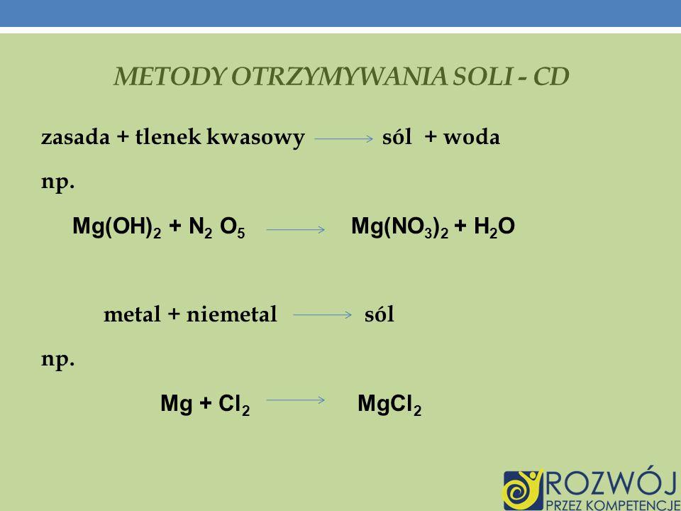 METODY OTRZYMYWANIA SOLI - CD zasada + tlenek kwasowy sól + woda np.