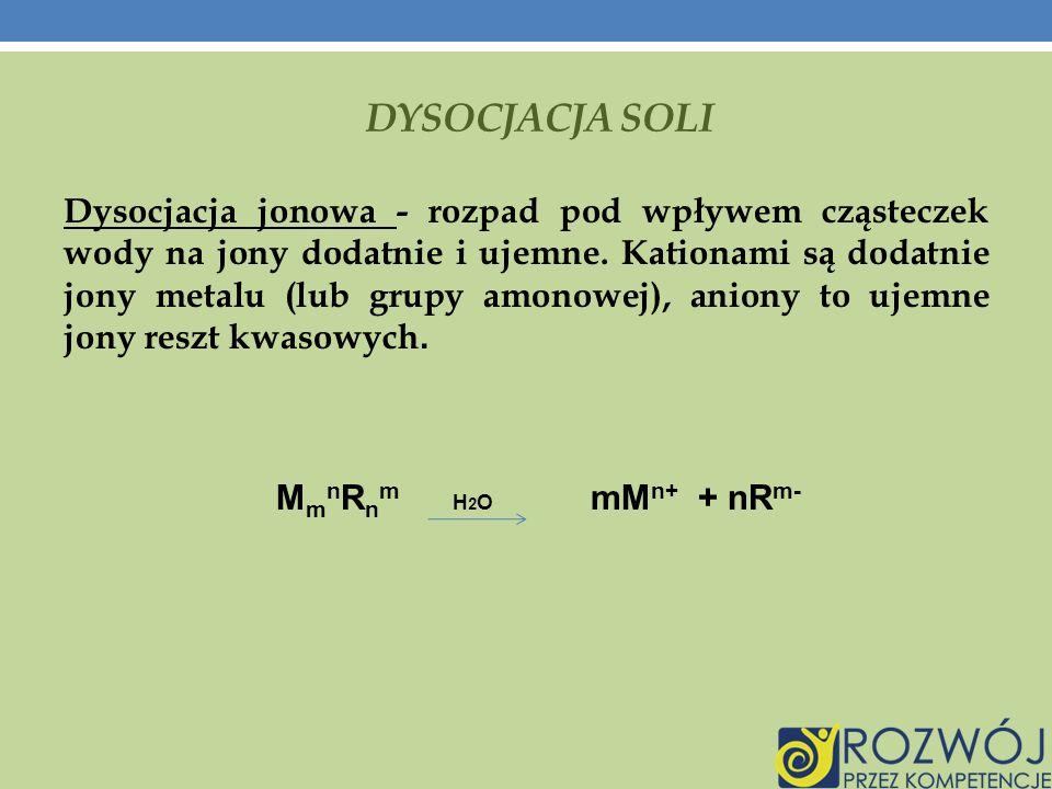 DYSOCJACJA SOLI Dysocjacja jonowa - rozpad pod wpływem cząsteczek wody na jony dodatnie i ujemne.