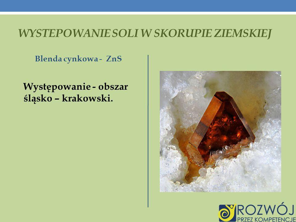 WYSTEPOWANIE SOLI W SKORUPIE ZIEMSKIEJ Blenda cynkowa - ZnS Występowanie - obszar śląsko – krakowski.