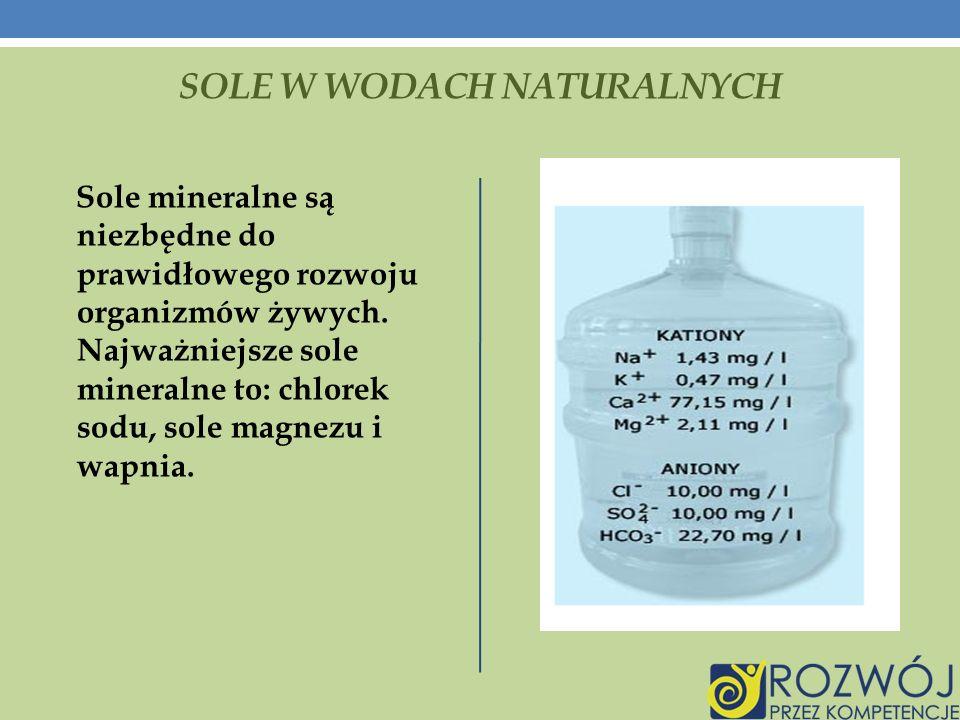 SOLE W WODACH NATURALNYCH Sole mineralne są niezbędne do prawidłowego rozwoju organizmów żywych.