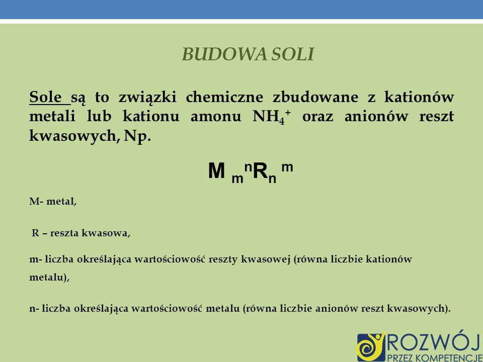 BUDOWA SOLI Sole są to związki chemiczne zbudowane z kationów metali lub kationu amonu NH 4 + oraz anionów reszt kwasowych, Np.