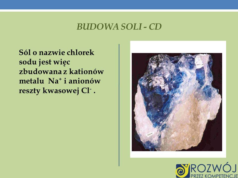 BUDOWA SOLI - CD Sól o nazwie chlorek sodu jest więc zbudowana z kationów metalu Na + i anionów reszty kwasowej Cl -.