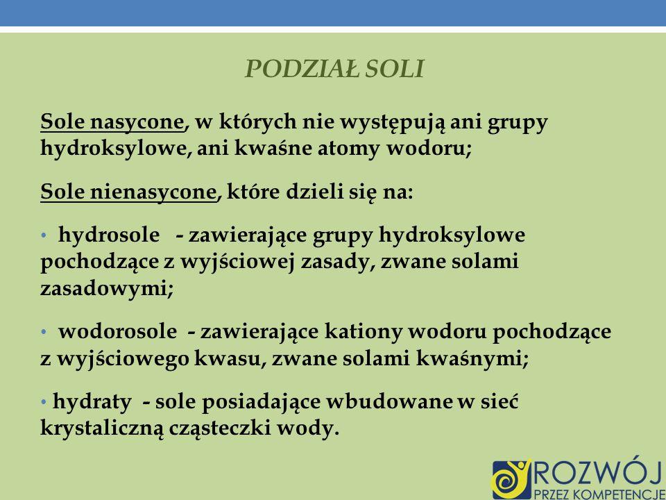 SOLE W GOSPODARSTWIE DOMOWYM - CD Na 2 CO 3 – węglan sodu Stosowany do produkcji szkła i papieru, w hutnictwie.
