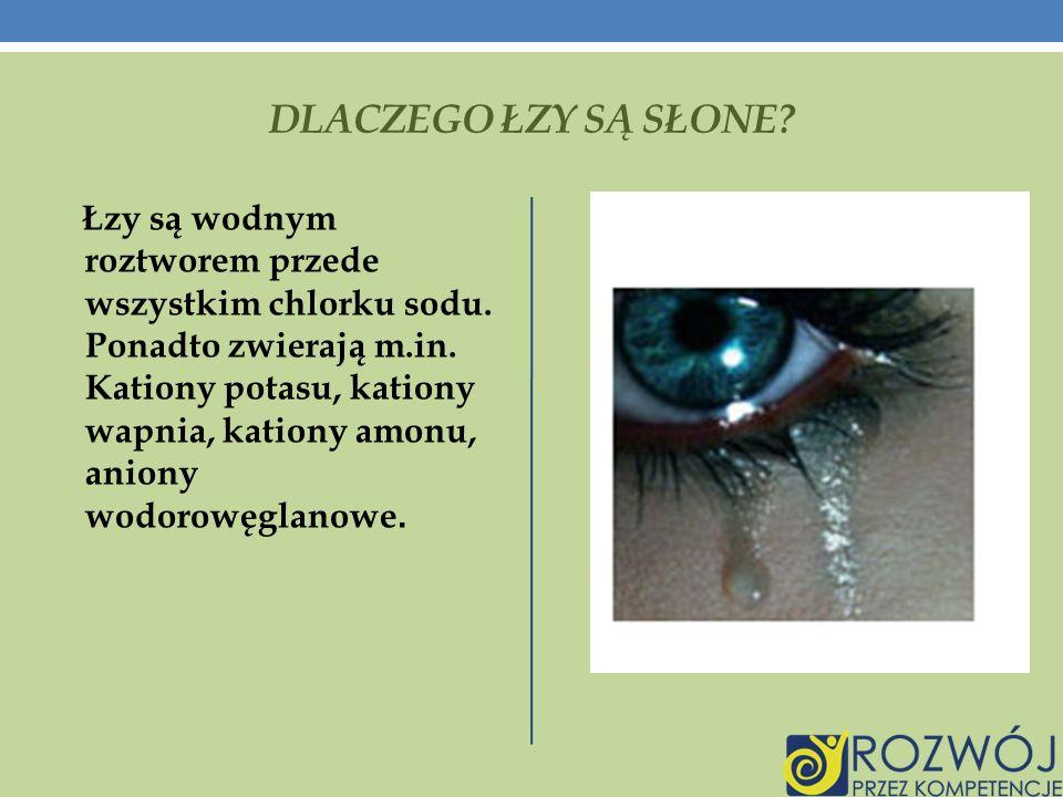 DLACZEGO ŁZY SĄ SŁONE.Łzy są wodnym roztworem przede wszystkim chlorku sodu.