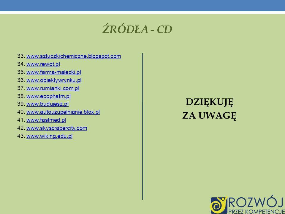 ŹRÓDŁA - CD 33.www.sztuczkichemiczne.blogspot.comwww.sztuczkichemiczne.blogspot.com 34.